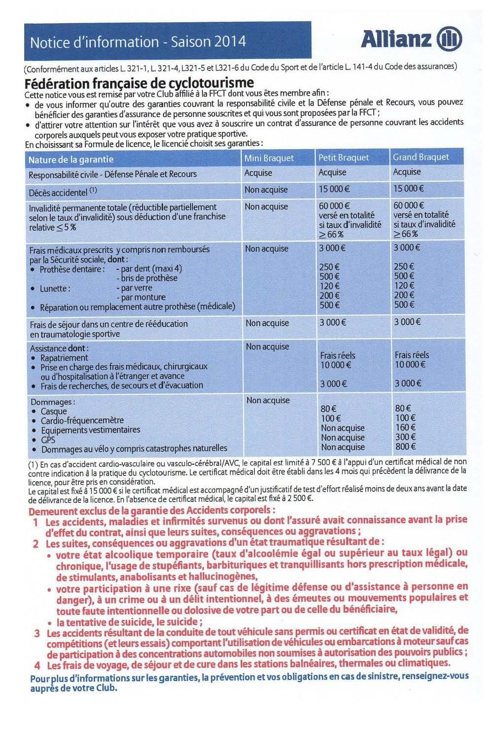 Tarif des licences 2016 page 1