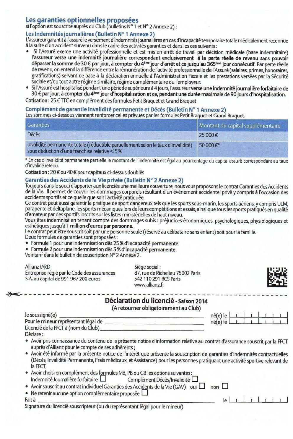 Tarif des licences 2016 page 2
